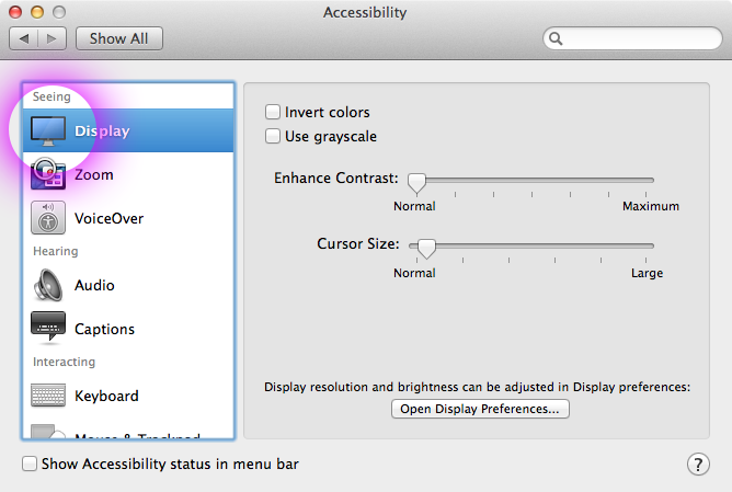 system preferences display