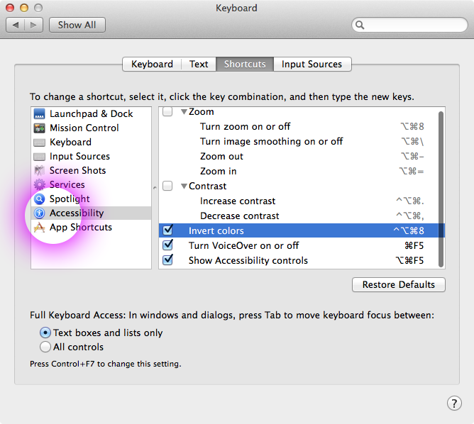 system preferences accessibility invert colors