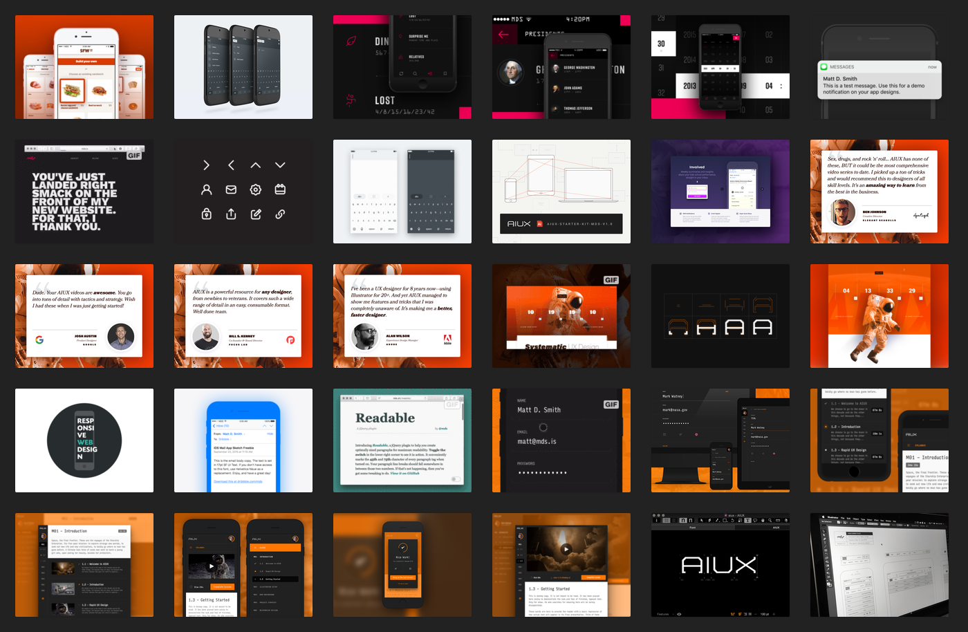 screenshot of design thumbnails
