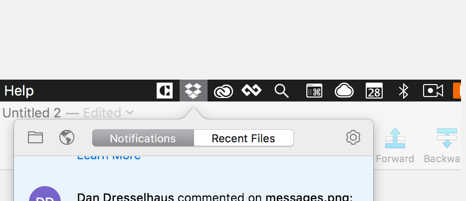 dropbox menu bar app