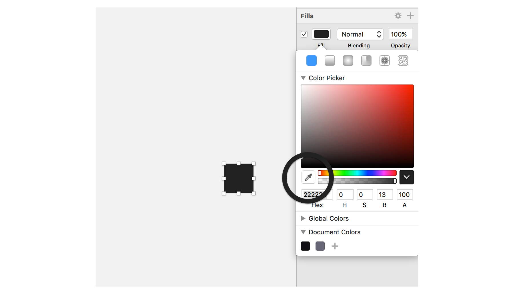 screenshot of Sketch's eyedropper color picker icon